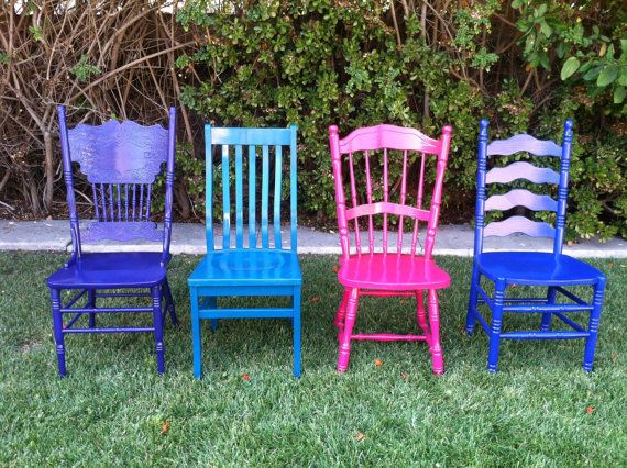Custom Color Mismatched Dining Chairs Set Of Vintage Mix N Match Spindle Shabby Chic Kitchen Los Angeles