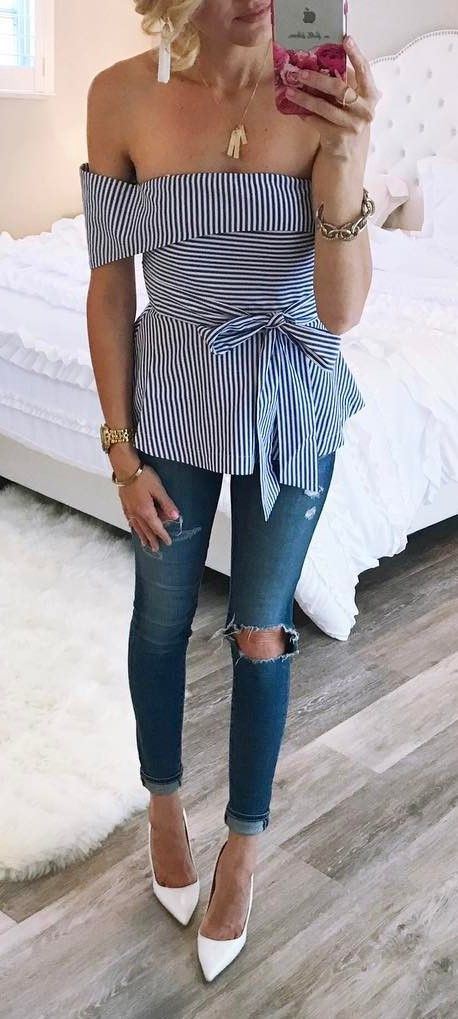 Blue and white striped off shoulder top + rips + heels