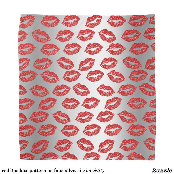 red lips kiss pattern on faux silver background bandana