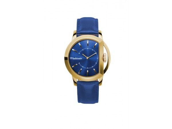 Analoog gouden Fashiontv unisex dames en heren horloge model Gloria met blauw lederen band