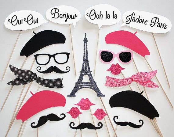 Well Always Have Paris Photo Booth Party Props - 21 Piece Set