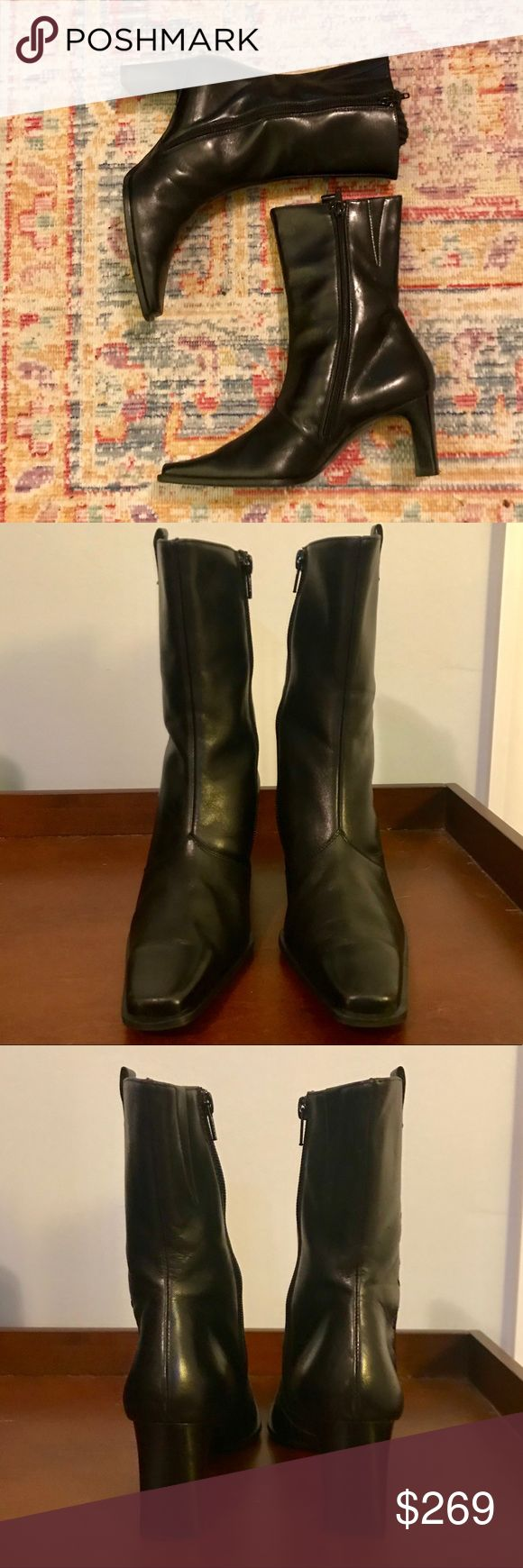 Paul Green Leather Boots 🖤 Paul Green Leather Boots 2 1/2 US Size 5 Like Brand New!  Perfect with dress pants.  Class up your look this winter with these gorgeously soft Paul Green leather boots. A great investment for a closet staple! Paul Green Shoes Heeled Boots