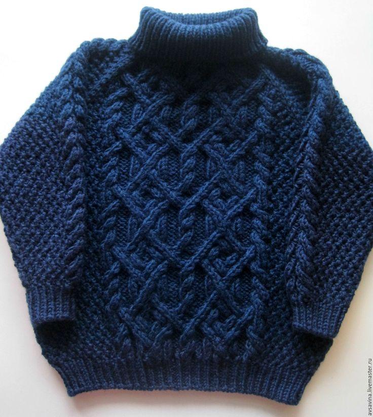 """Купить Детский вязаный свитер """"Хитросплетения"""" - тёмно-синий, однотонный, детский свитер, детский джемпер"""