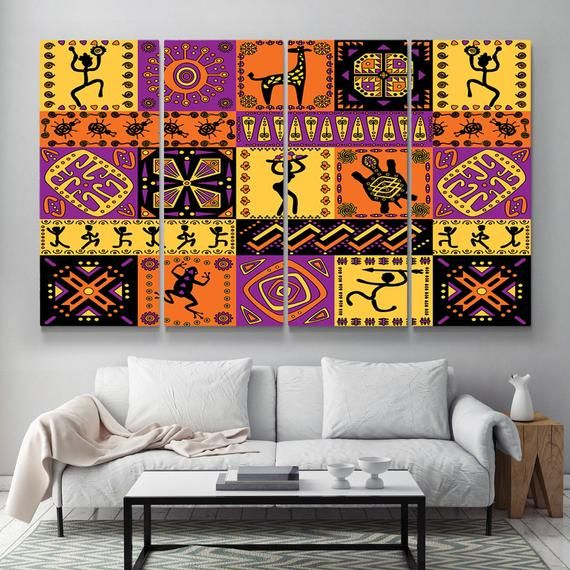 Abstract African Wall Art Canvas Print Colorful Art Painting Etsy African Wall Art Canvas Wall Art Colorful Art Paintings