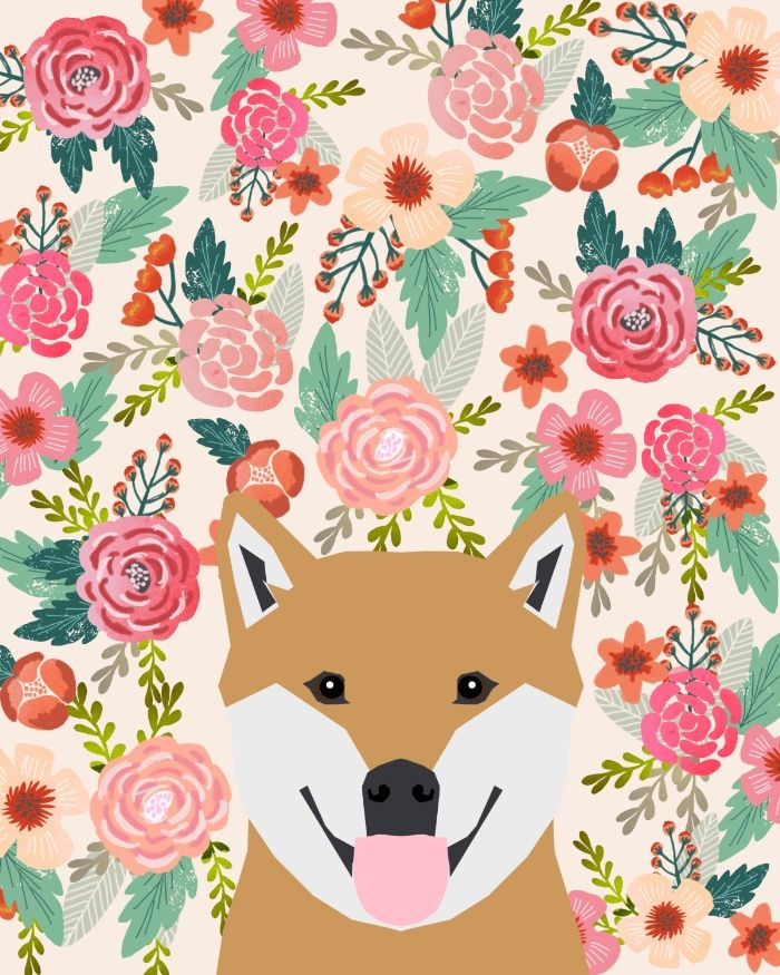 Pet Friendly Flooring Options For Cat And Dog Owners: Shiba Inu Florals Spring Summer Bright Girly Hipster Dog