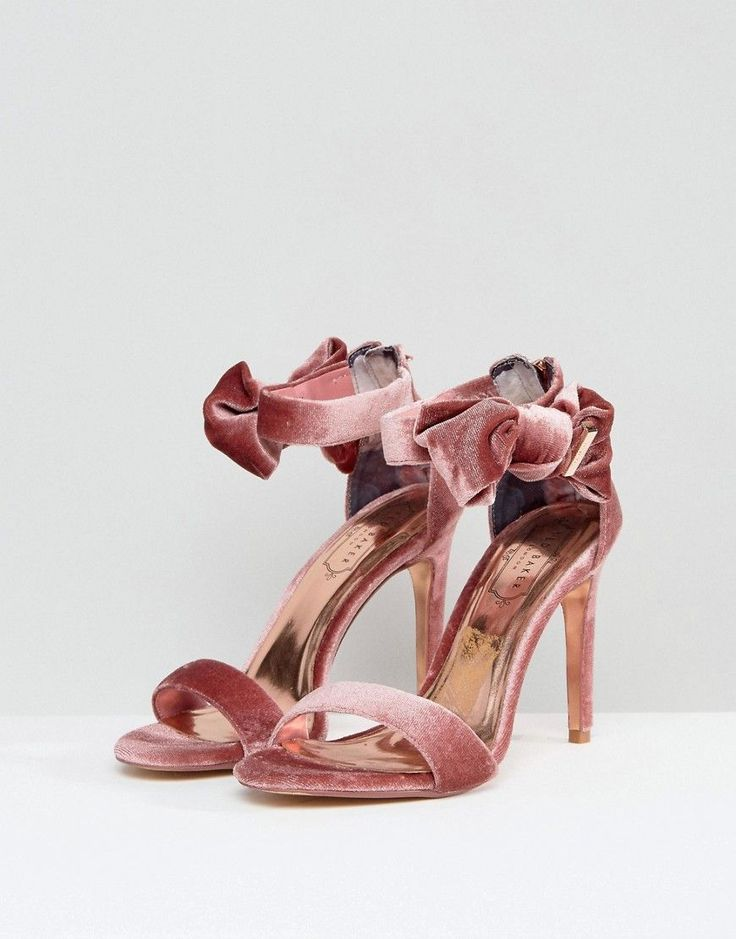 Ted Baker Torabel Bow Mink Velvet Heeled Sandals - Pink