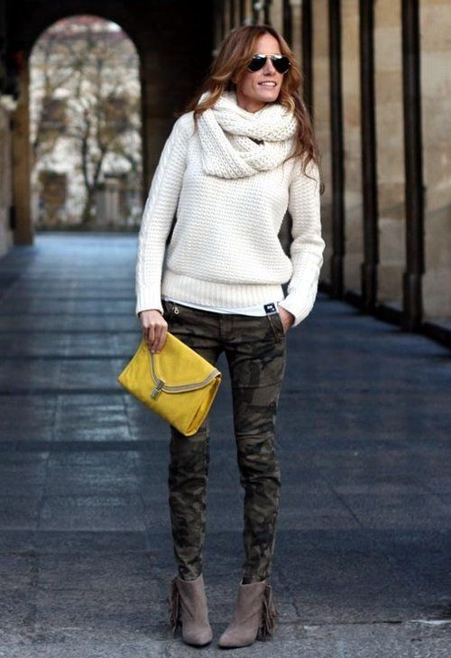 Consider teaming a white cable pullover with dark green camo skinny pants for a Sunday lunch with friends. Brown suede ankle boots will bring a classic aesthetic to the ensemble.  Shop this look for $83:  http://lookastic.com/women/looks/sunglasses-scarf-cable-sweater-clutch-skinny-pants-ankle-boots/4958  — Black Sunglasses  — White Knit Scarf  — White Cable Sweater  — Mustard Leather Clutch  — Dark Green Camouflage Skinny Pants  — Brown Suede Ankle Boots
