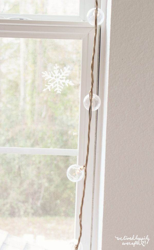 """So one of my most popular post to date (especially during Christmas) is my """"Hot Glue Gun Snowflakes"""" (found HERE)  Originally, I glued the snowflakes right on to my windows. Some of them didpeel off"""