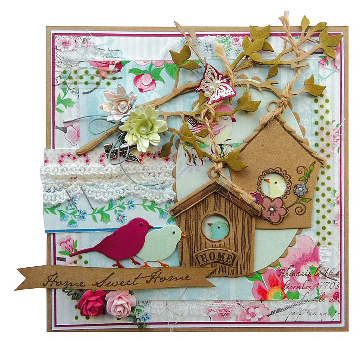 COL1308 BIRDHOUSE FLOWERS Marianne Design Collectables