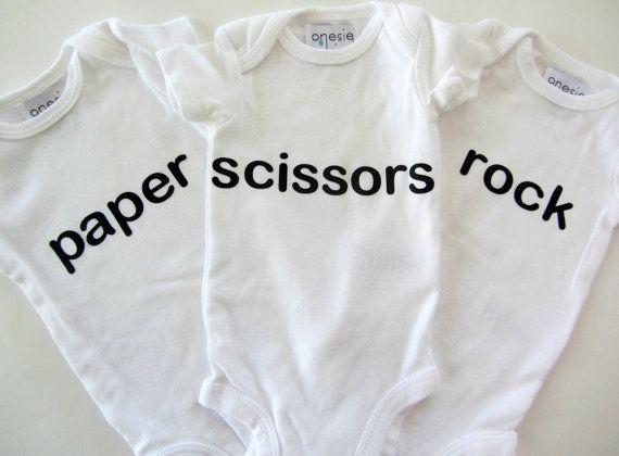 Triplet Gifts Funny Triplet Baby Bodysuit Rock by LaurelAndOctavia