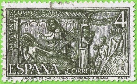 1971 España, Reason Pecho de Carlomagno de Aquisgrán Alemania Conmemorativo Año Santo Compostelano Valor facial 4 pesetas