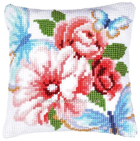 Buy Blue Butterflies and Flowers Cushion Front Chunky Cross Stitch Kit online at sewandso.co.uk