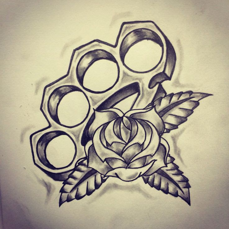 Traditional brass knuckle / Rose tattoo sketch by - Ranz | Pinterest
