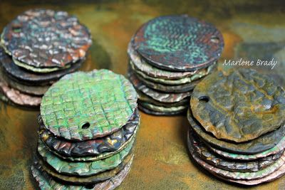 Marlene Brady.  The beauty of texture and patina on polymer clay.