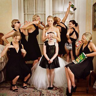 "21 Wedding Photo Ideas for your Bridal Party | Confetti Daydreams - ""Don't corrupt the flower girl"" photo pose to stage before stepping out of your dressing room to the wedding reception"