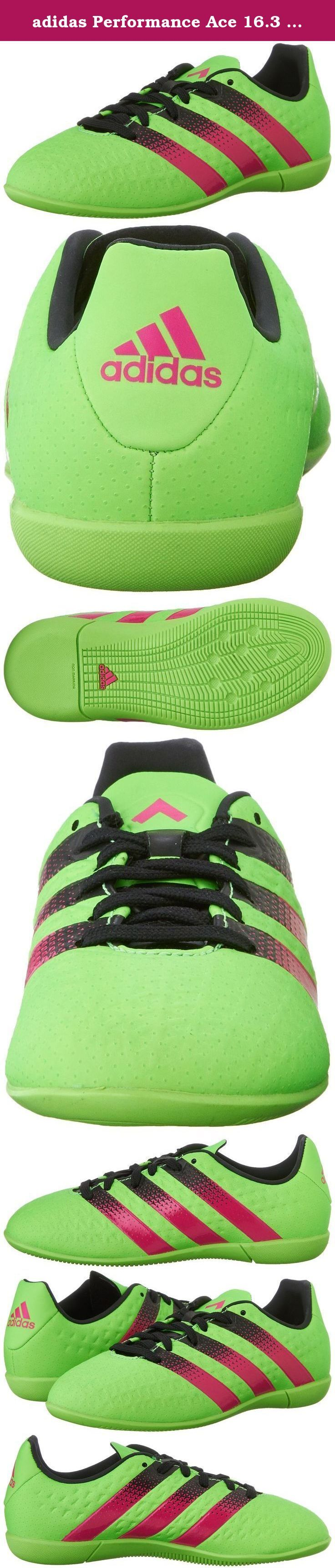 adidas Performance Ace 16.3 IN J Soccer Shoe (Little Kid/Big Kid),Green/Shock Pink/Black,4 M US Big Kid. Kids Soccer Shoe.