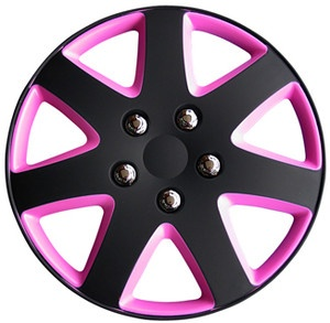 "BRAND NEW 15"" MATT BLACK & PINK WHEEL TRIMS / HUB CAPS FULL SET OF 4"