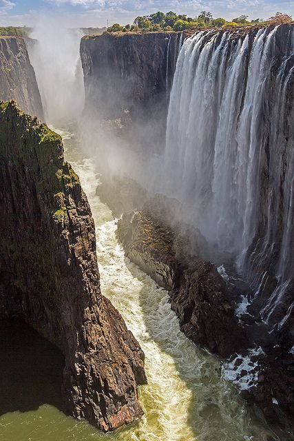 Victoria Falls and the Zambezi River viewed from Zambia ~ UNESCO World Heritage Site