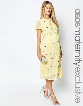 ASOS Maternity Midi Dress with Embellished Multi Colour Flowers - Shop for women's Dress - Multi