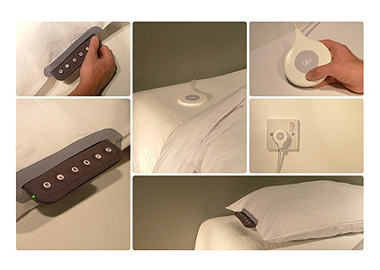 The glo pillow uses an integrated fabric interface for setting the alarm. The time is displayed on the surface of the pillow using an LED grid inside the pillow. The user goes to sleep and passes through the five sleep stages to REM (rapid eye movement) sleep. Forty-five minutes before the alarm is due to activate, the pillow begins to glow. I could benefit from this.....