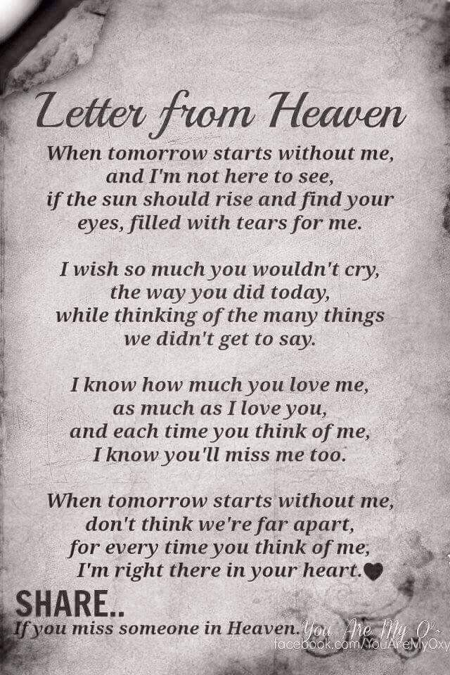 Pin By Lucinda Wimmer On Grief Quotes Letter From Heaven Miss