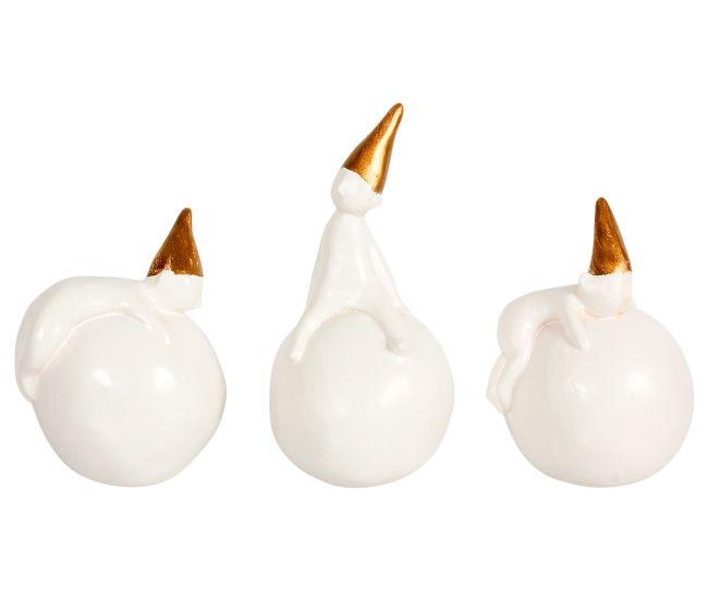 3 Snebold Nisser, Porcelæn, Sæt
