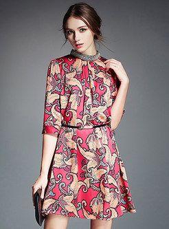 Sequin Patch Print Short Dress