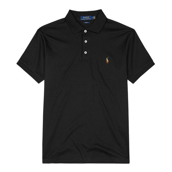 Polo Ralph Lauren Black Slim Pima Cotton Polo Shirt ($120) ❤ liked on Polyvore featuring men's fashion, men's clothing, men's shirts, men's polos, mens slim shirts, men's pima cotton t shirts, polo ralph lauren mens shirts, mens slim fit polo shirts and mens embroidered shirts