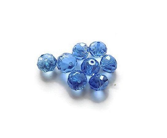 perles de verre à facettes bleu irisé 10 mm X 8 - lot perles pour création de bijoux : Perles en Verre par mamiechantal-screations