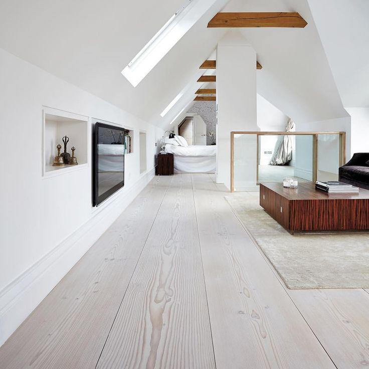 "302 tykkäystä, 3 kommenttia - Dinesen (@dinesen) Instagramissa: ""The combination of sloping walls, exposed beams and Douglas planks create a cozy yet elegant…"""