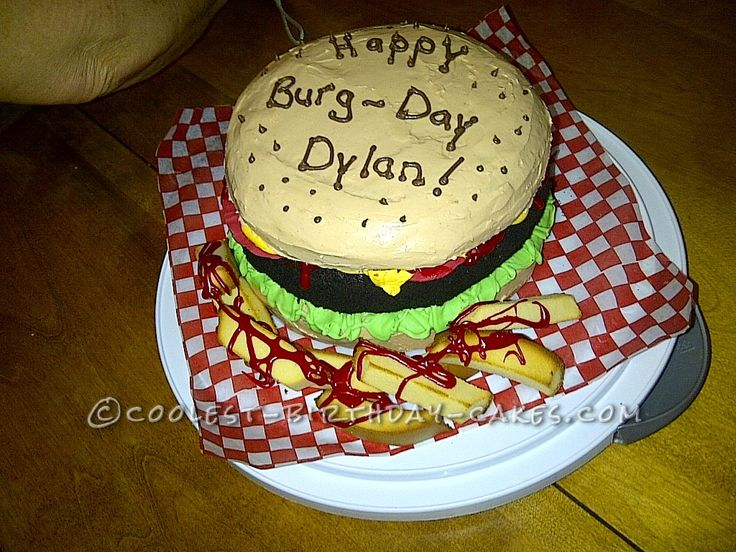 Hamburger Lover Birthday Cake for a 9-Year-Old Boy