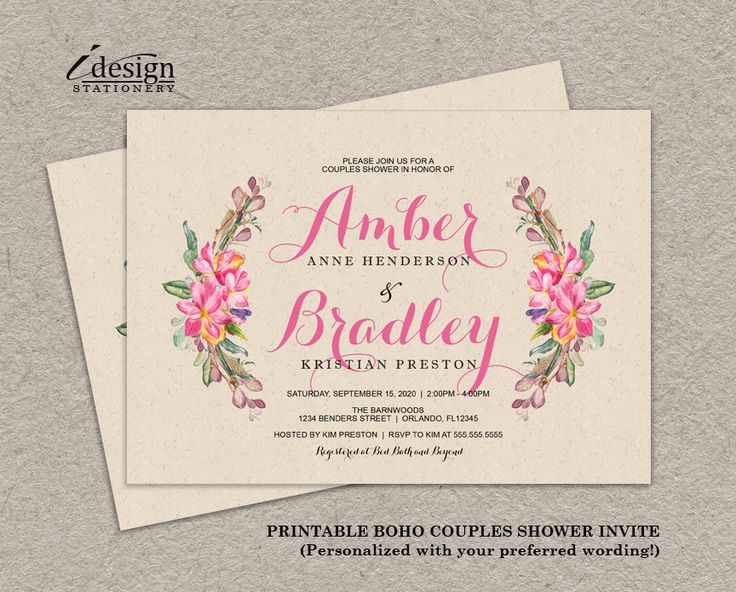 floral boho chic couples shower invitation printable bohemian wedding shower invitations with watercolor flowers wreath