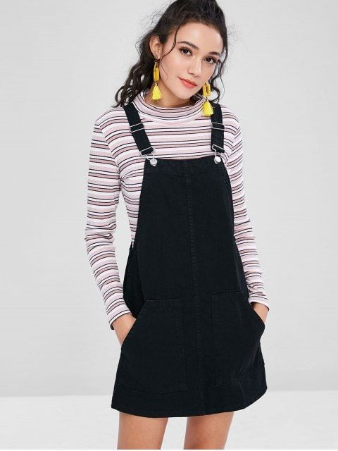 024eddc62c Shop for  HOT  2019 Pockets Denim Pinafore Dungaree Dress in BLACK XS of Mini  Dresses and check 10000+ hottest styles at ZAFUL.