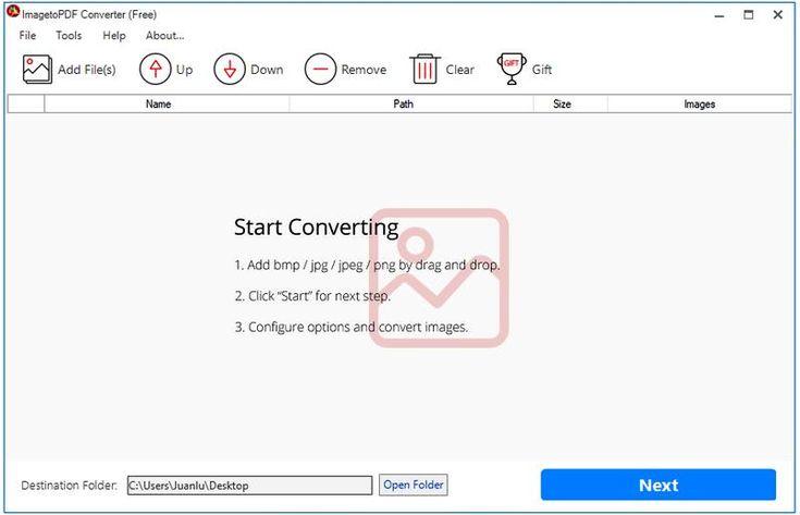 ImagetoPDF Converter es un excelente convertidor de imágenes a PDF, incluso por grandes lotes. Es gratuito y compatible con Windows 7, 8 y 10.