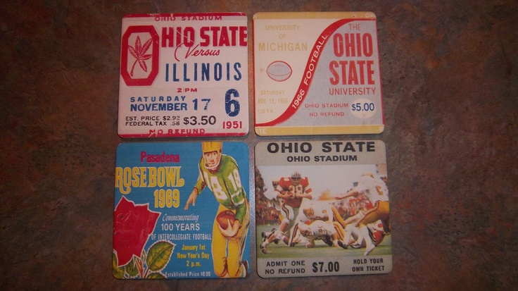 Ohio State football ticket ceramic drink coaster set made from authentic vintage Ohio State football tickets. The top left coaster is made from a ticket from Woody Hayes' first season in Columbus in 1951.