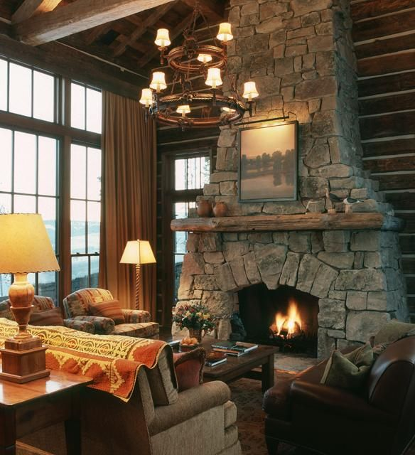 fireplace: Stones Fireplaces, Dreams Houses, Architects, Decor Ideas, Living Room, Cabins Dreams, Dreams Logs, Mountain Home, Leather Chairs