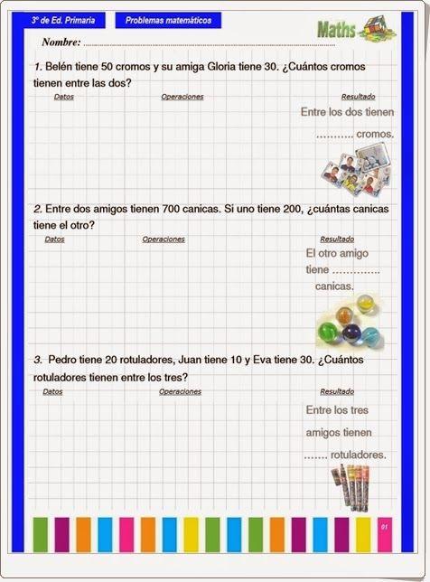 Cuaderno de problemas matemáticos para 3º nivel de Educación Primaria en orientacionandujar.es.