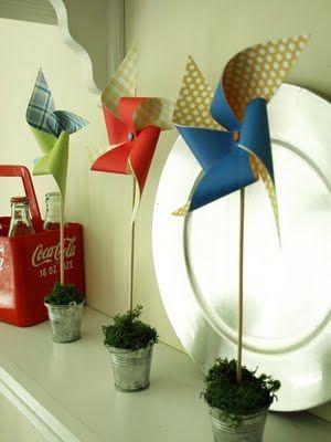 Pinwheel Topiaries - cute, summer decor by @Julie at lessthanperfectlifeofbliss.blogspot.com