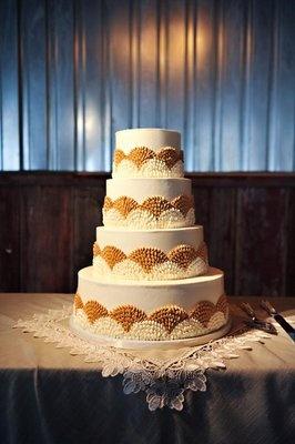 Luxe-Vintage Wedding Cake; Photo by Rebekah Westover