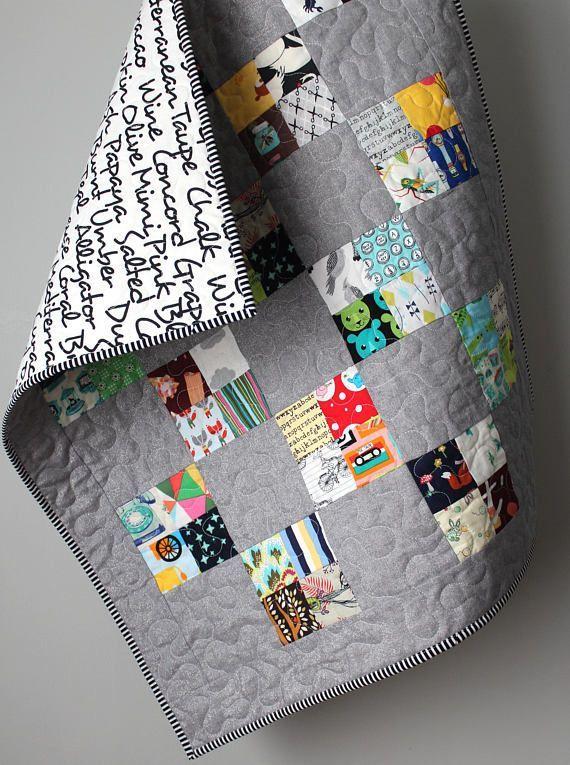 Modern Baby Quilt Stroller Quilt Scrappy Quilt Homemade