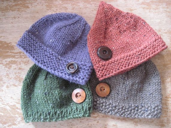 Button hat for baby - hand knit - pick your colours - photo shoot prop - newborn and other sizes