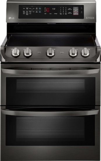 LG - 7.3 Cu. Ft. Self-Cleaning Freestanding Double Oven Electric Convection Range - Black Stainless Steel - Front Zoom, #1 choice?