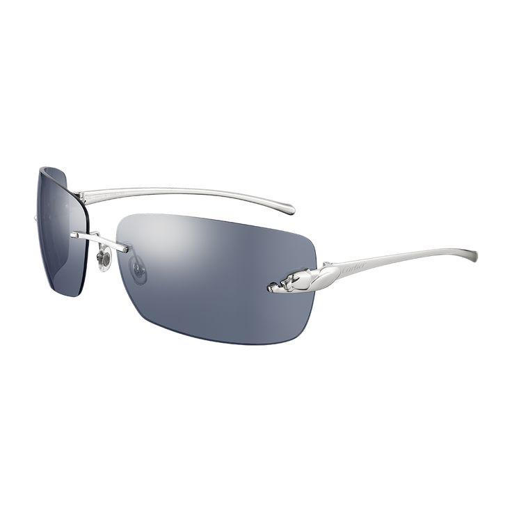 cartier panthre de cartier sunglasses dark blue lenses smooth platinum finish fine sunglasses