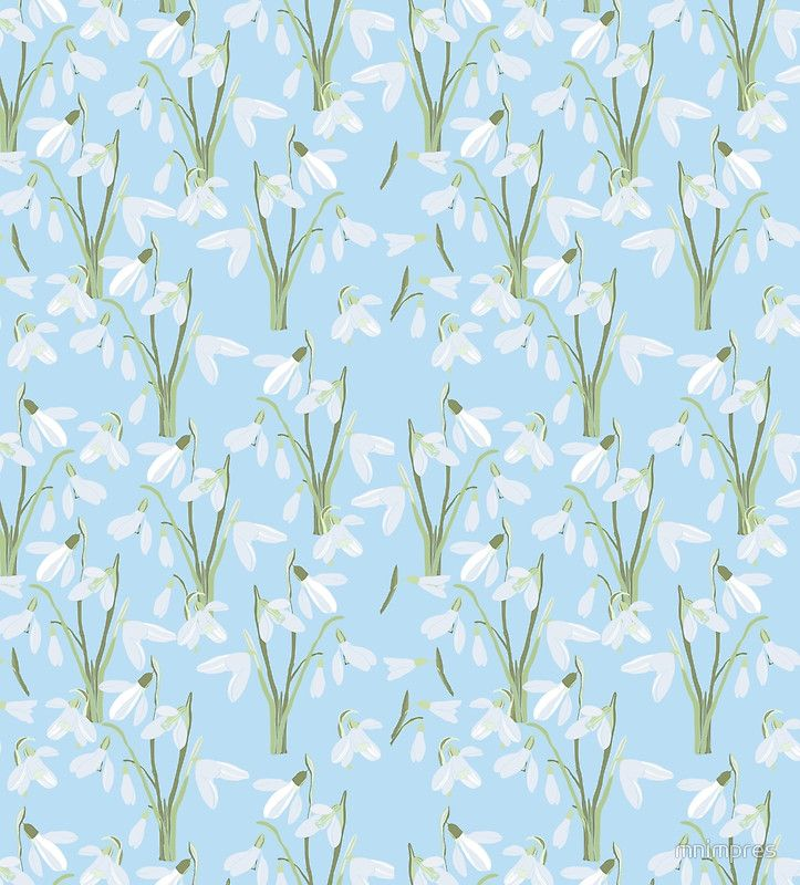 seamless pattern First Snowdrops Galanthus Flowers