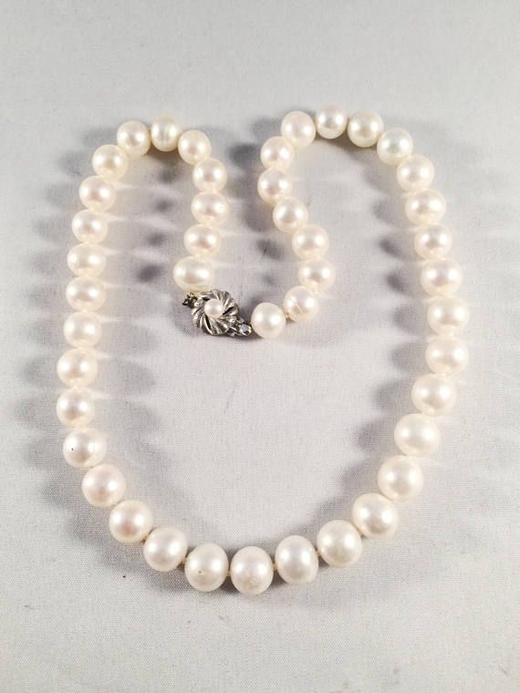 Vintage Cultured Pearl Necklace, Vintage Jewelry, Clasp Stamped Silver, Wedding, Prom