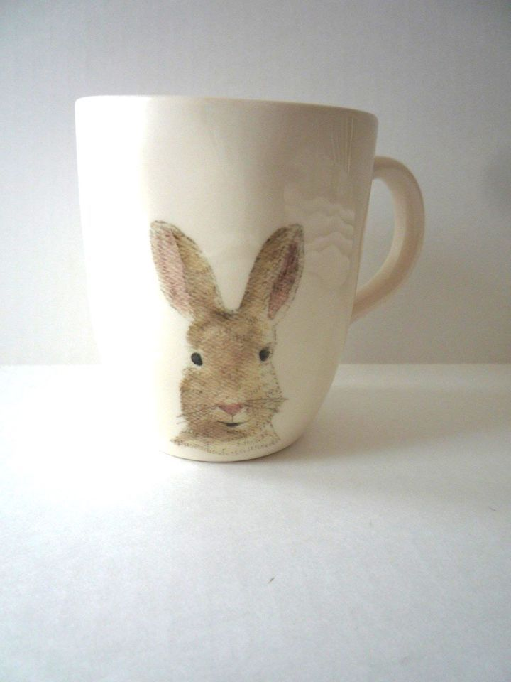 New Magenta Rae Dunn Happy Easter Bunny Rabbit Mug Cup