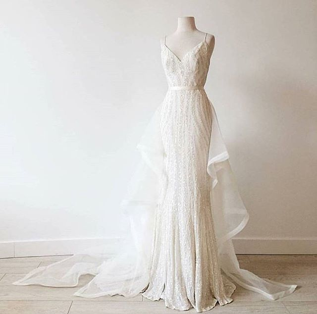 KAREN WILLIS HOLMES Sequin Wedding dress ELLERY + PAIGE TRAINS as seen in @sashandbustle