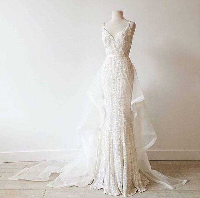 KAREN WILLIS HOLMES Sequin Wedding dress  ELLERY + PAIGE TRAINS as seen in @sashandbustle