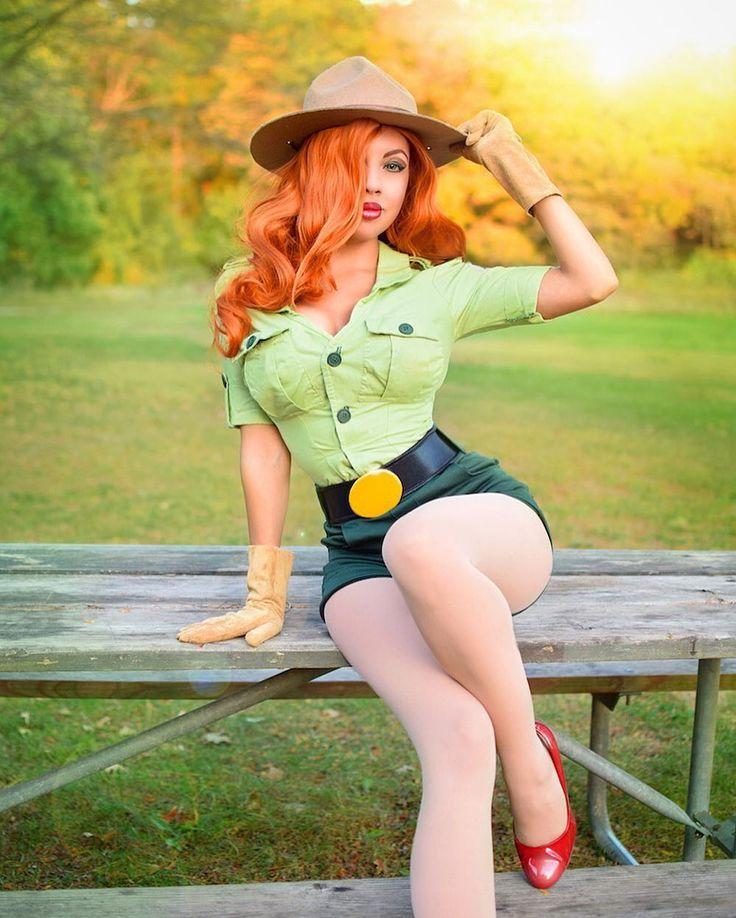 """Need any help, little camper?""  Park Ranger Jessica Rabbit #cosplay by Momo Kurumi"