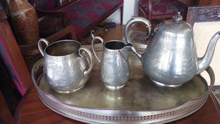 1853-1862 MARTIN HALL & CO. SHEFFIELD VICTORIAN SILVERPLATE TEA SET WITH TRAY